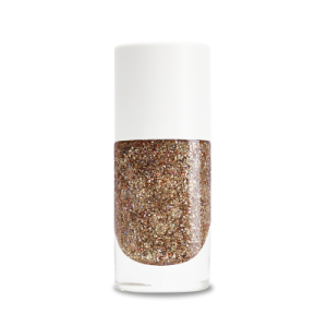 Vernis Biosourcé Bonnie paillettes or rose Nailmatic